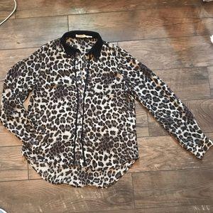 Leopard Print Sheer Shirt